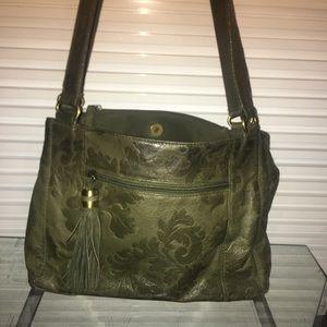 Olive patterned leather shoulder bag w/ tassel